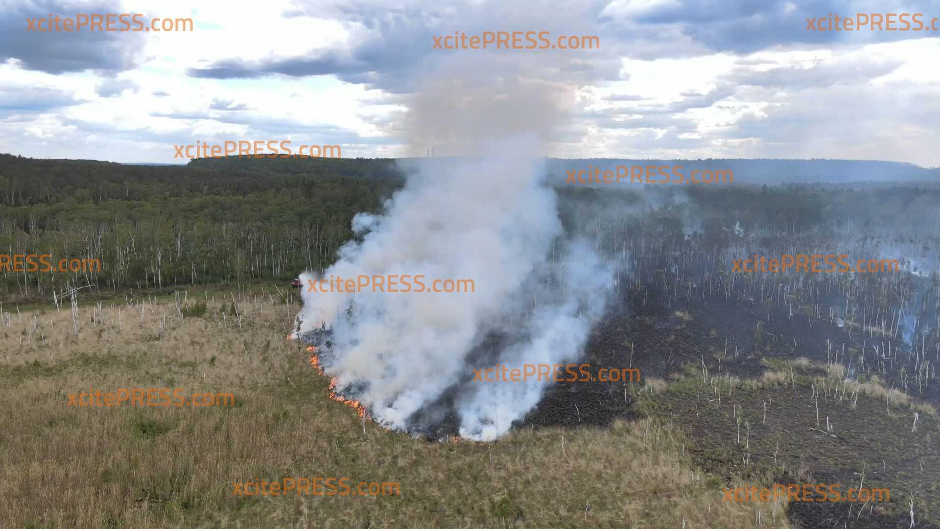 Großschadenslage ausgerufen - 100 Hektar Moorgebiet und Schilfgürtel in Brand : Feuerwehr im Großeinsatz - Drohnenbilder zeigen Ausßmaß