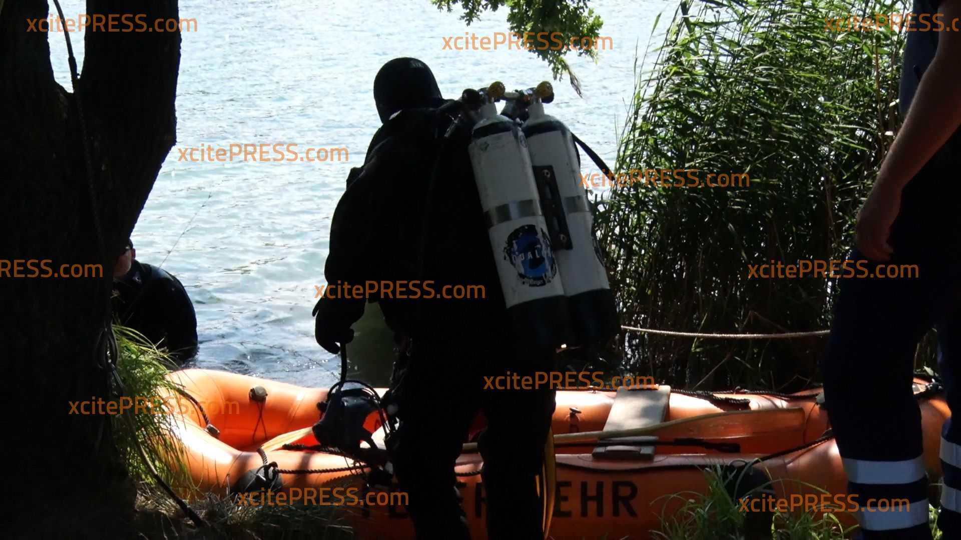 Noch keine Spur von Vermisstem (44) am Olbasee: Feuerwehr und Polizei-Tauchergruppe im Einsatz
