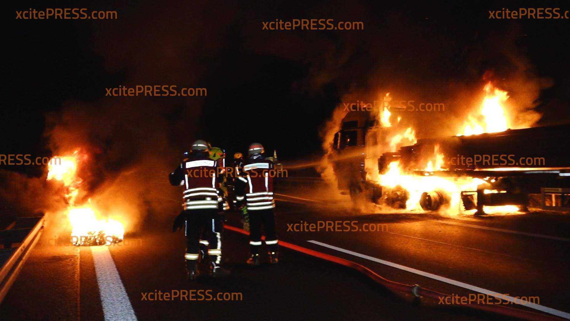 LKW gerät auf der A4 in Brand: Autobahn bleibt seitdem über Stunden gesperrt